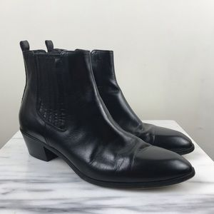 J. Crew Black Leather Pull On Chelsea Booties Boot